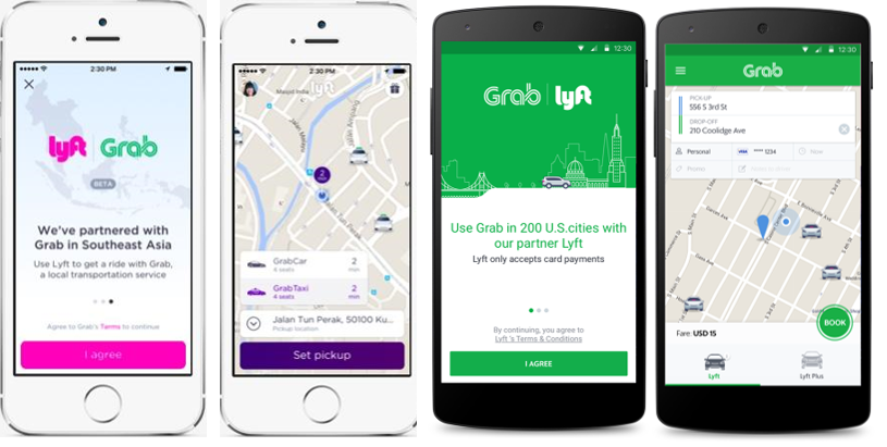 Grab-Lyft Integration Welcome and Booking Screens: GrabCar and GrabTaxi, Lyft and Lyft Plus rides will be available to U.S. and SEA travelers.
