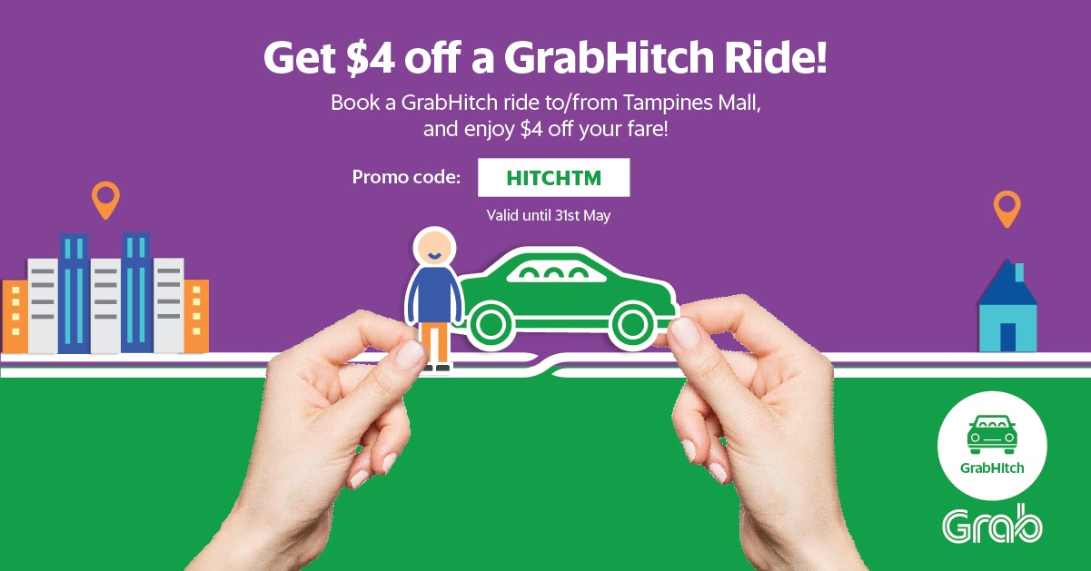 Get $4 off your Hitch ride to or from Tampines Mall! | Grab SG