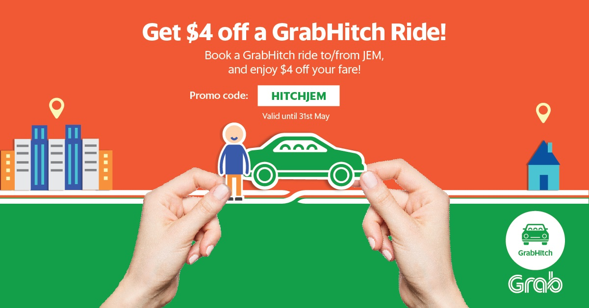 Get $4 off your Hitch ride to or from JEM   Grab SG